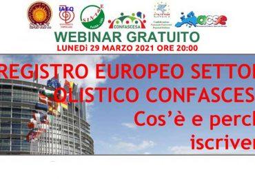 Webinar Gratuito: Registro Europeo Settore Olistico. Lunedì 29 Marzo ore 20:00